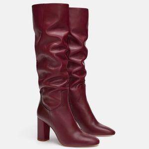 NWT Zara Burgundy Dark Red Knee High Boots 36 6